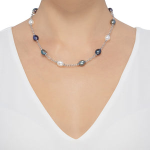 9-10 mm Black, Grey, & White Pearl Color Crush Necklace