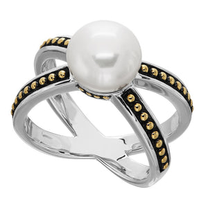 9.5-10 mm Pearl Crisscross Ring