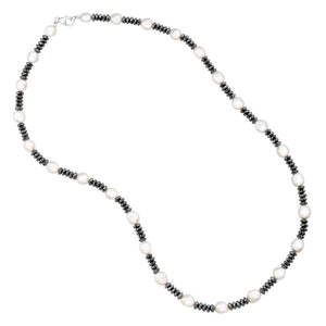 Baroque Pearl & Hematite Strand Necklace