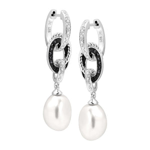 Baroque Pearl & 1/5 ct Diamond Convertible Drop Earrings