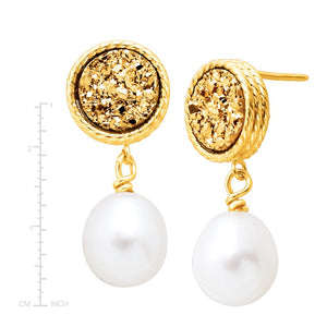 Oval Pearl & Golden Druzy Drop Earrings