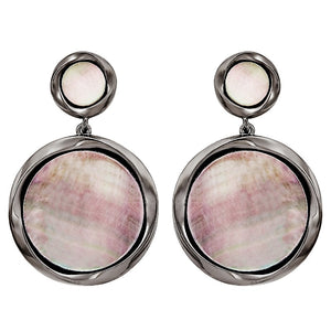 Black Mother-of-Pearl Double Drop Earrings