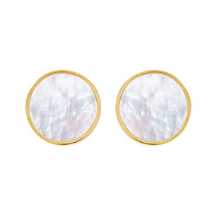 Round Mother-of-Pearl Stud Earrings