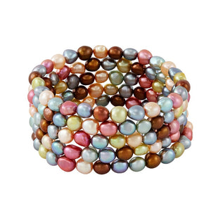 Set of Five 6-7 mm Gelato Rice Pearl Bracelets