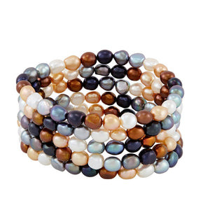 Set of Five 6-7 mm Lynx Rice Pearl Bracelets