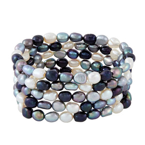Set of Five 6-7 mm Tuxedo Rice Pearl Bracelets