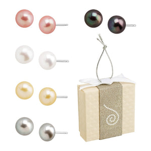Set of Five Button Pearl Studs