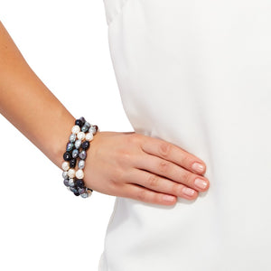 Set of Three 9-10 mm Tuxedo Rice Pearl Bracelets