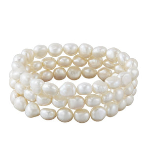Set of Three 9-10 mm White Rice Pearl Bracelets