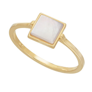 Square Mother-of-Pearl Solitaire Ring