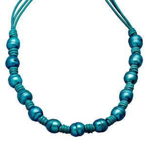 Teal Ringed Pearl Leather Cord Necklace