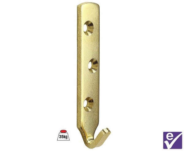Plate Hook 3 Hole 80mm Brass Plated - Holds up to 35kgs - White Frame Company
