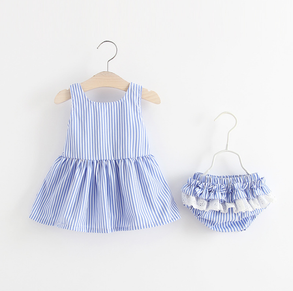 Cute Blue Stripe Dress