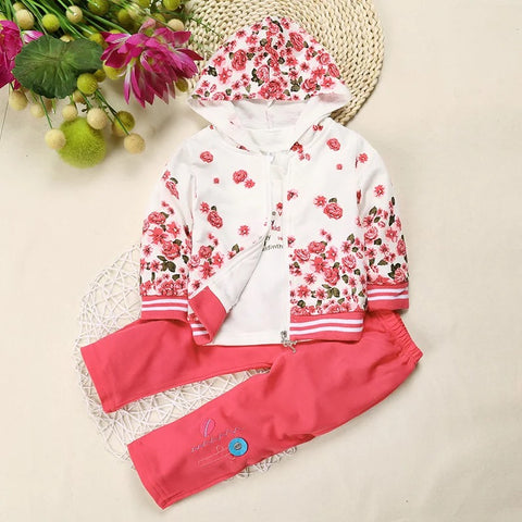 Floral Hooded Sweater with a Long Sleeve Shirt