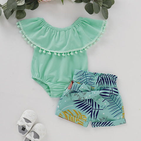 Girls Green Short Set