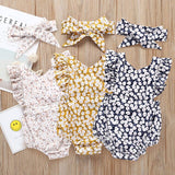 Girls Flower Summer Romper Set with Headband