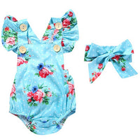 Newborn Baby Girl Flower Romper with Headband