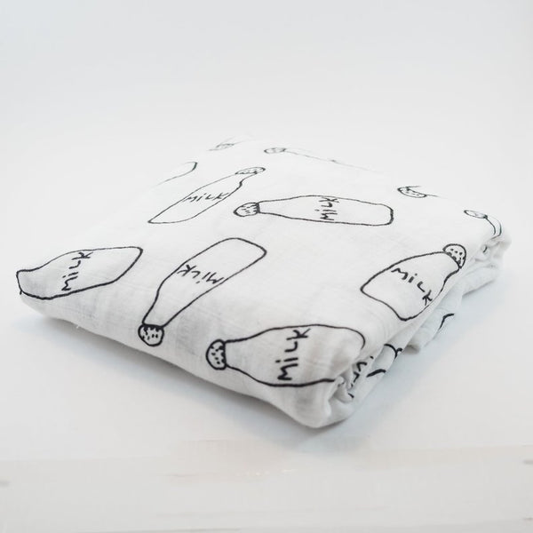 """Milk"" Cotton Muslin Baby Swaddle"