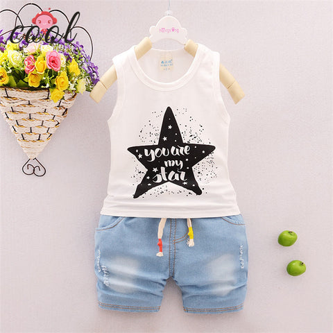Kids T-shirt and Jeans Short Sleeveless Shirt