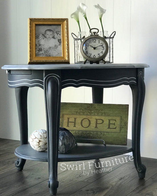 Chalk Painted Side Table with Shelf