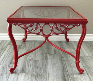 Red Chalk Painted Outdoor Metal Coffee Table (FREE LOCAL DELIVERY ONLY)