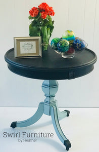 Chalk Painted Vintage Style Drum Table with Casters