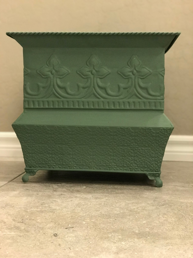 Black Green Chalk Painted Metal Flower Pot