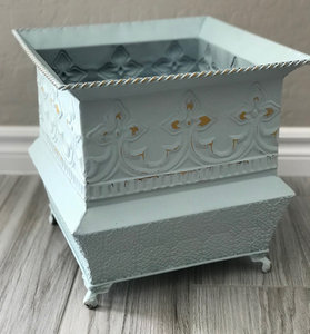 Blue Chalk Painted Flower Pot