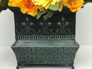 Black & Green Chalk Painted Metal Flower Pot