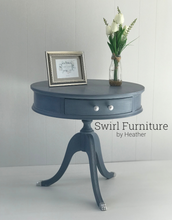 Old Violet Chalk Painted Vintage Drum Table