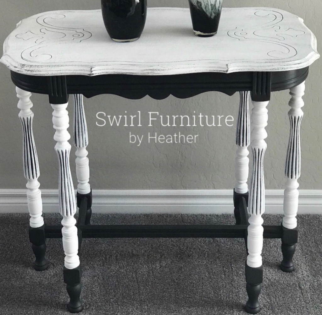 Black and White Chalk Painted Swirl Table