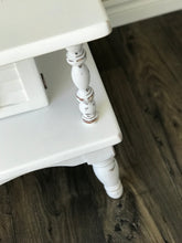 White Hand Painted Table with Shutter Doors