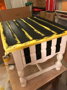 Hand Painted Striped End Tables