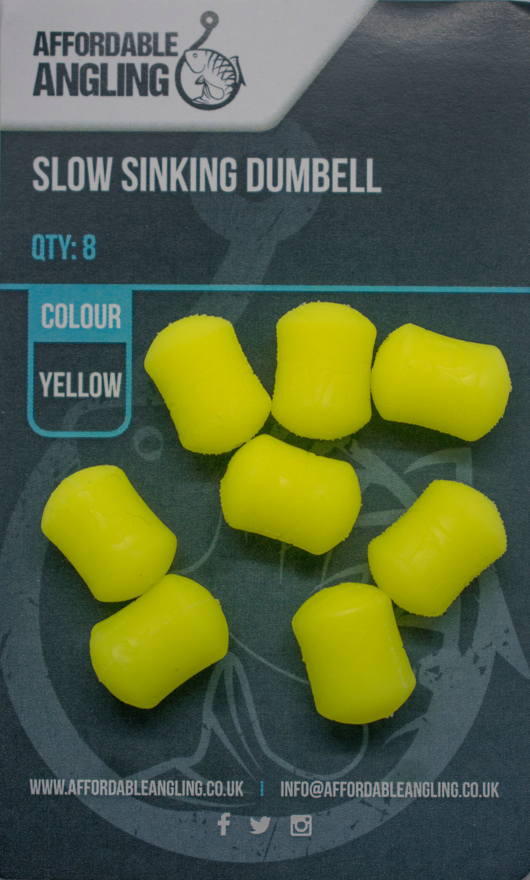 Slow Sinking Dumbell Hook Baits - Yellow
