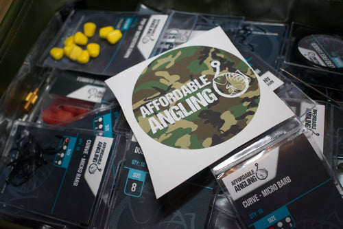 Affordable Angling Camo Bucket Sticker