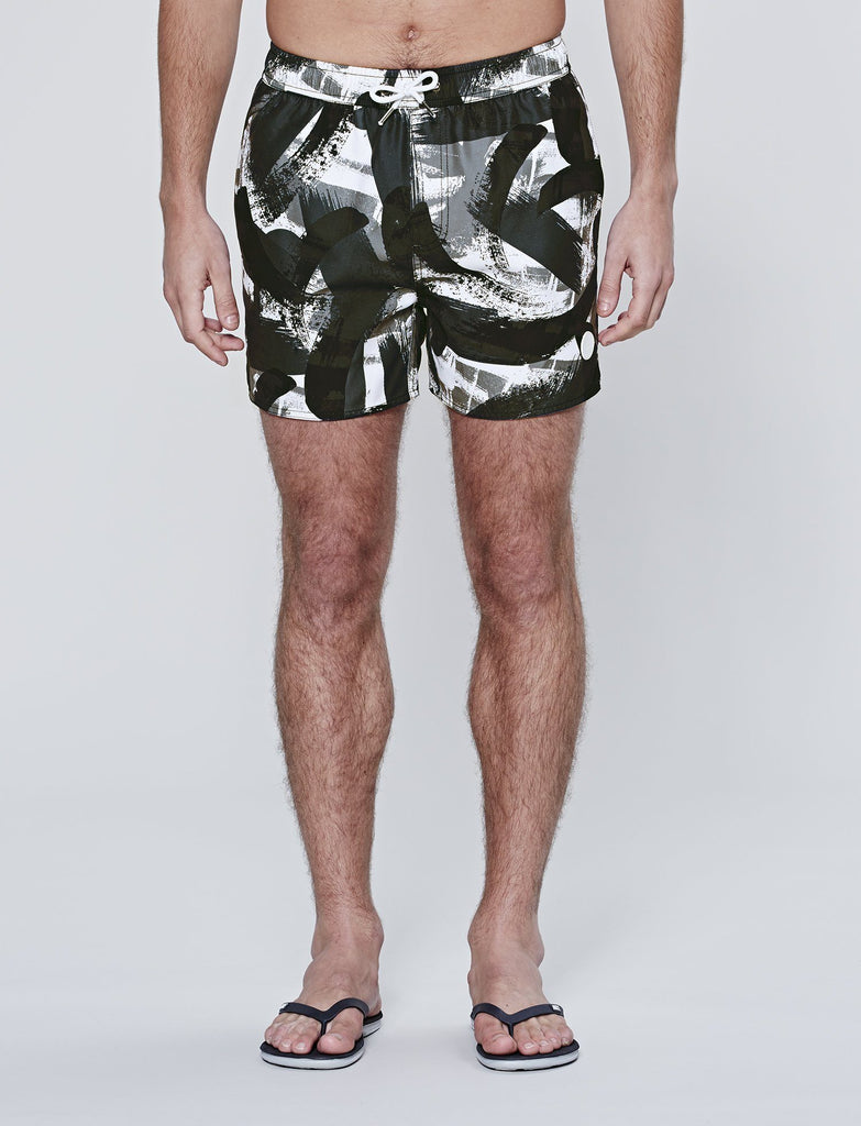 Black Paintbrush Print Swims