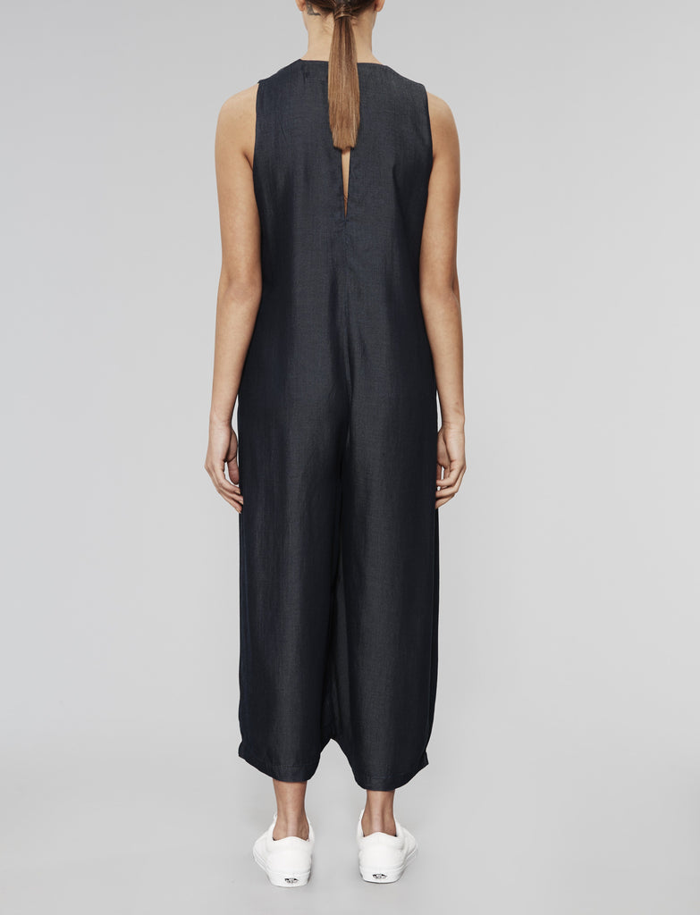 Indigo Convex Button Down Jumpsuit