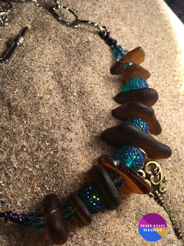 Amber Beach Glass Necklace - Jewelry