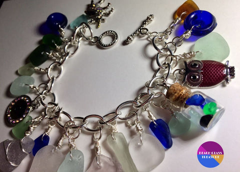 Beach Glass Toggle Charm Bracelet - Jewelry