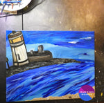 Cape Perch Original Lighthouse Painting On Canvas 16X20 - Original Art