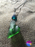 Emerald & Aqua 18 Beach Glass Necklace - Necklace