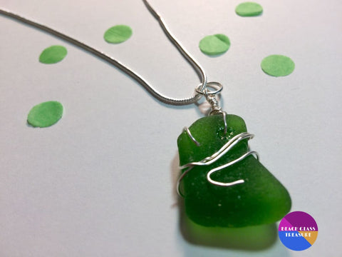 Emerald Green Beach Glass 18 Necklace - Jewelry
