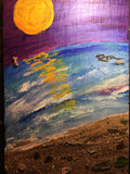 Sunset into darkness, original slate painting