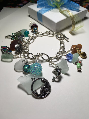 Mermaid toggle beach glass charm bracelet
