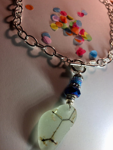 "Safety beach glass toggle 22"" necklace"