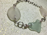 Love locked beach glass bracelet