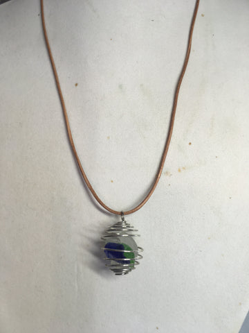 Beach glass cage necklace