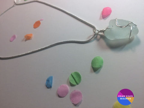 Light Sea Foam Beach Glass 18 Necklace ***sold*** - Jewelry