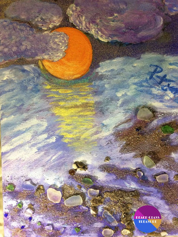 Moonlit Cloudy Beach Original Beach Painting On Canvas 11 X 14 - Original Art
