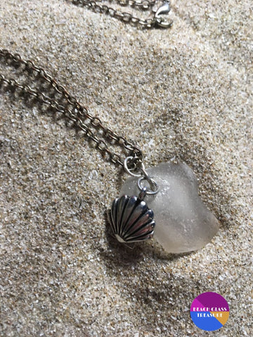 Seashell Beach Glass Necklace - Necklace